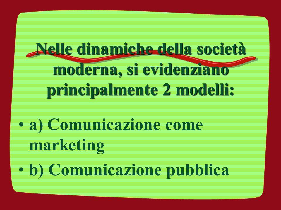 Nelle dinamiche della società moderna, si evidenziano principalmente 2 modelli: a) Comunicazione come marketing b) Comunicazione pubblica