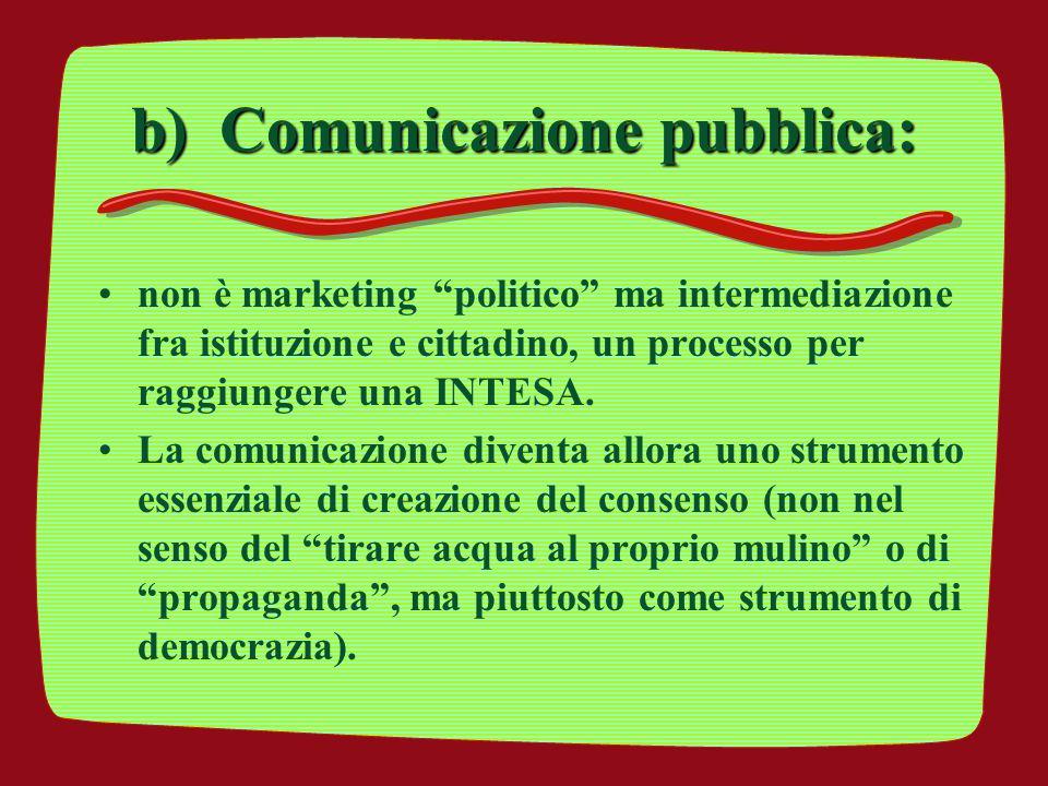 """b) Comunicazione pubblica: non è marketing """"politico"""" ma intermediazione fra istituzione e cittadino, un processo per raggiungere una INTESA. La comun"""
