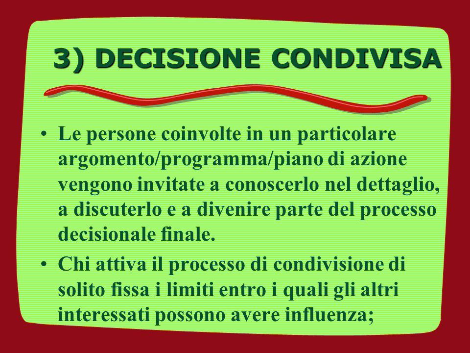 3) DECISIONE CONDIVISA Le persone coinvolte in un particolare argomento/programma/piano di azione vengono invitate a conoscerlo nel dettaglio, a discu