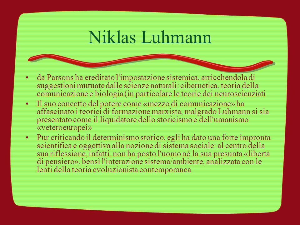 Niklas Luhmann da Parsons ha ereditato l'impostazione sistemica, arricchendola di suggestioni mutuate dalle scienze naturali: cibernetica, teoria dell