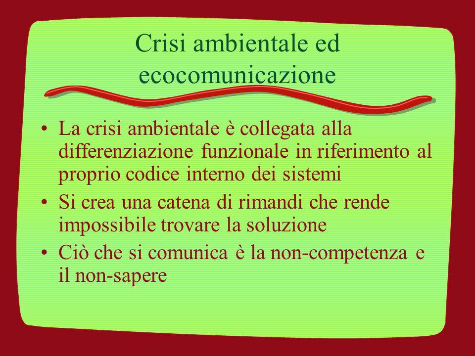 Crisi ambientale ed ecocomunicazione La crisi ambientale è collegata alla differenziazione funzionale in riferimento al proprio codice interno dei sis