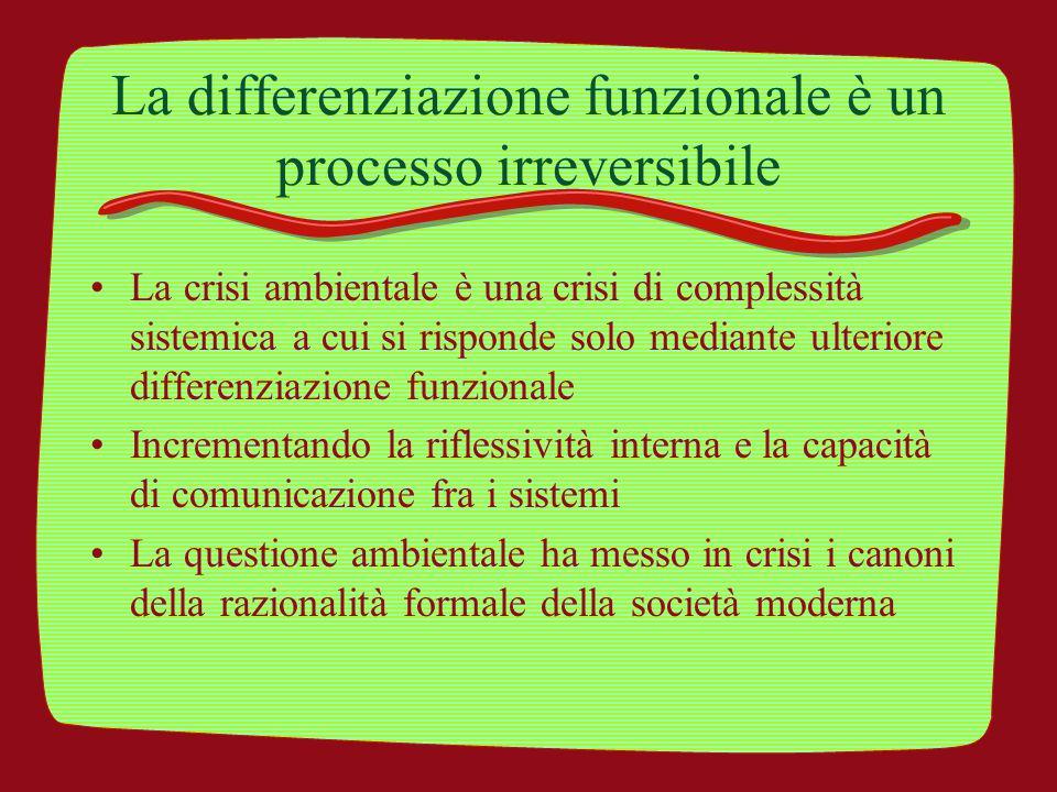 La differenziazione funzionale è un processo irreversibile La crisi ambientale è una crisi di complessità sistemica a cui si risponde solo mediante ul