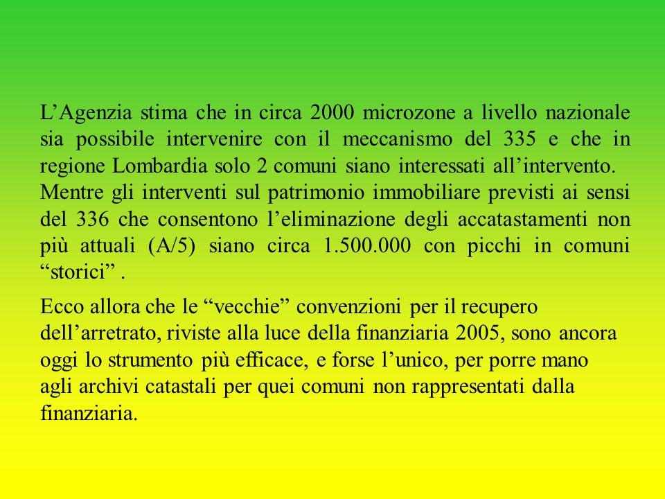L'Agenzia stima che in circa 2000 microzone a livello nazionale sia possibile intervenire con il meccanismo del 335 e che in regione Lombardia solo 2