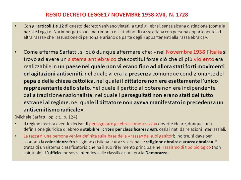 REGIO DECRETO-LEGGE17 NOVEMBRE 1938-XVII, N. 1728 Con gli articoli 1 e 12 di questo decreto venivano vietati, a tutti gli ebrei, senza alcuna distinzi