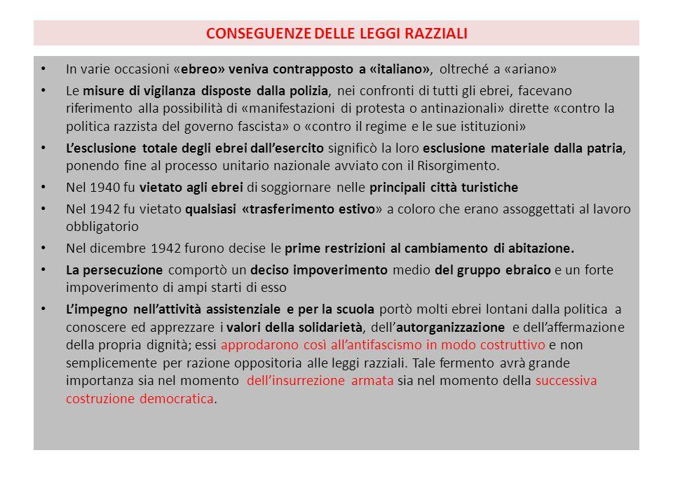 CONSEGUENZE DELLE LEGGI RAZZIALI In varie occasioni «ebreo» veniva contrapposto a «italiano», oltreché a «ariano» Le misure di vigilanza disposte dall