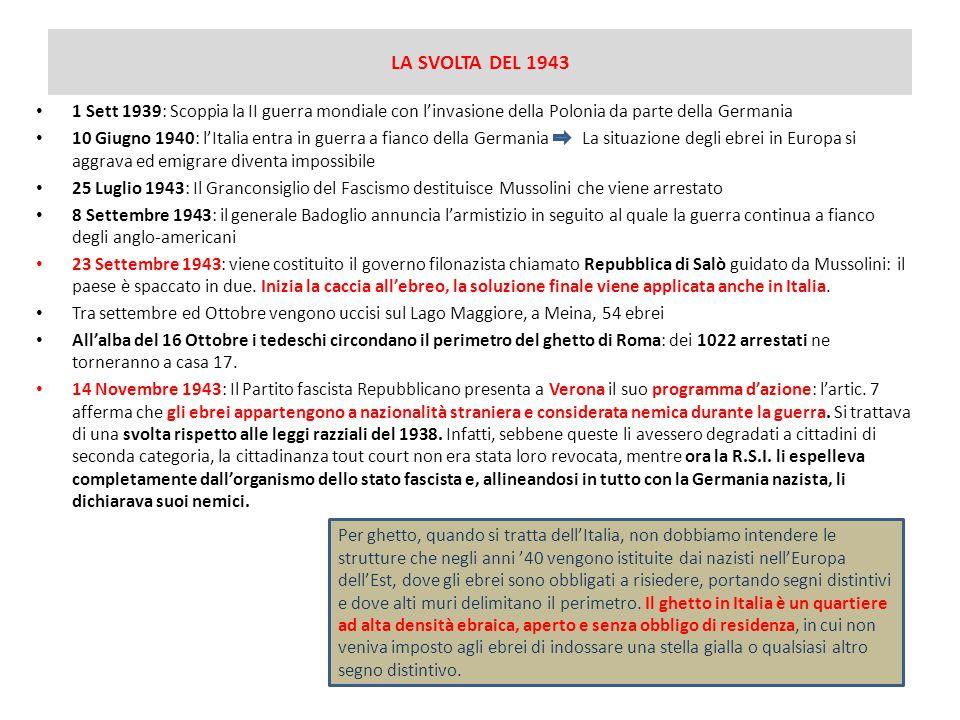 LA SVOLTA DEL 1943 1 Sett 1939: Scoppia la II guerra mondiale con l'invasione della Polonia da parte della Germania 10 Giugno 1940: l'Italia entra in