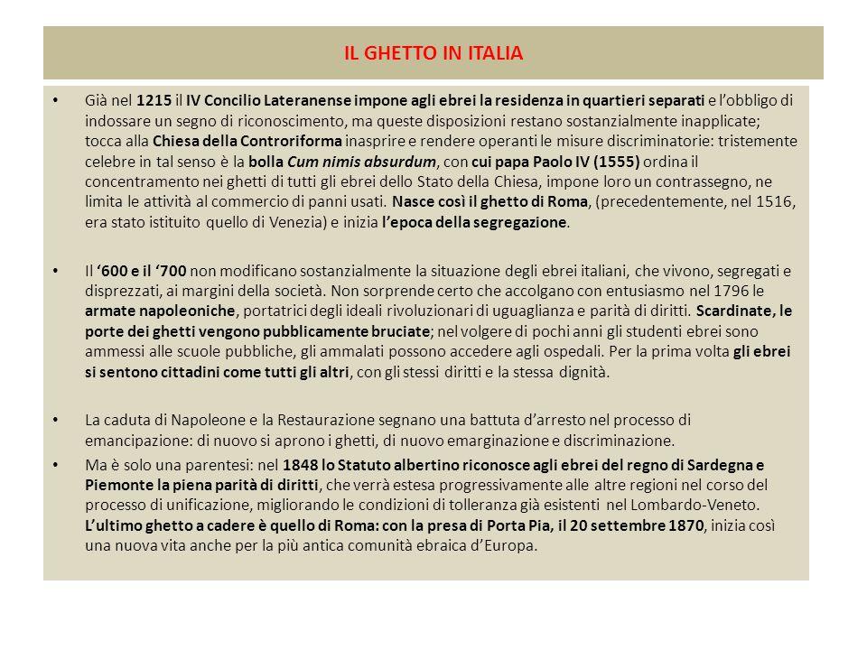 IL GHETTO IN ITALIA Già nel 1215 il IV Concilio Lateranense impone agli ebrei la residenza in quartieri separati e l'obbligo di indossare un segno di