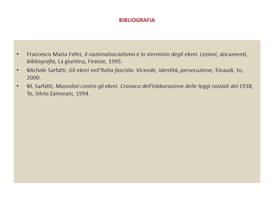 BIBLIOGRAFIA Francesco Maria Feltri, Il nazionalsocialismo e lo sterminio degli ebrei. Lezioni, documenti, bibliografia, La giuntina, Firenze, 1995. M