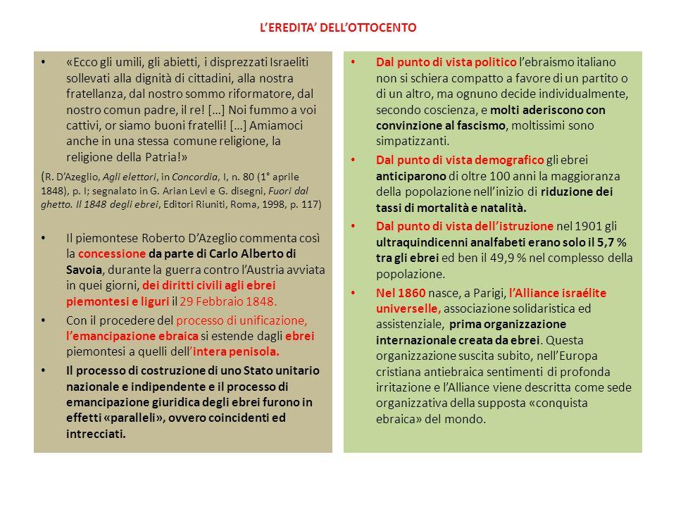 CONSEGUENZE DELLE LEGGI RAZZIALI In varie occasioni «ebreo» veniva contrapposto a «italiano», oltreché a «ariano» Le misure di vigilanza disposte dalla polizia, nei confronti di tutti gli ebrei, facevano riferimento alla possibilità di «manifestazioni di protesta o antinazionali» dirette «contro la politica razzista del governo fascista» o «contro il regime e le sue istituzioni» L'esclusione totale degli ebrei dall'esercito significò la loro esclusione materiale dalla patria, ponendo fine al processo unitario nazionale avviato con il Risorgimento.