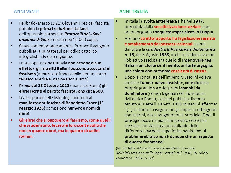 ANNI VENTI ANNI TRENTA Febbraio- Marzo 1921: Giovanni Preziosi, fascista, pubblica la prima traduzione italiana dell'opuscolo antisemita Protocolli de