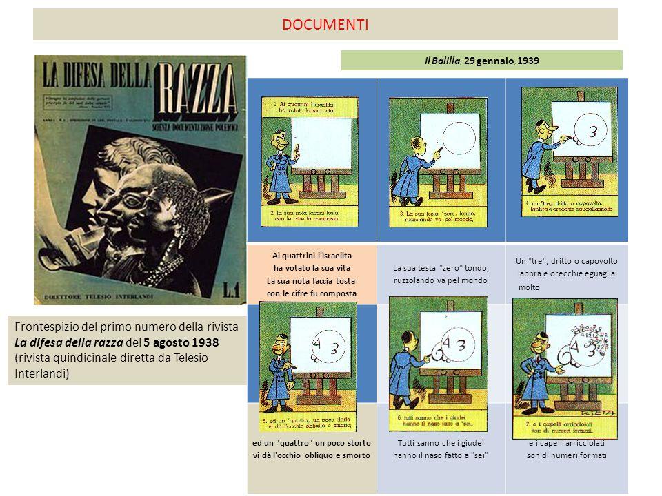 DOCUMENTI Frontespizio del primo numero della rivista La difesa della razza del 5 agosto 1938 (rivista quindicinale diretta da Telesio Interlandi) Ai