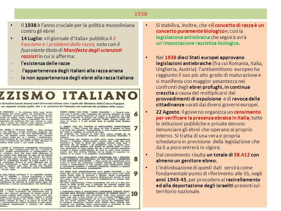 1938 Il 1938 è l'anno cruciale per la politica mussoliniana contro gli ebrei 14 Luglio: «Il giornale d'Italia» pubblica il Il Fascismo e i problemi de