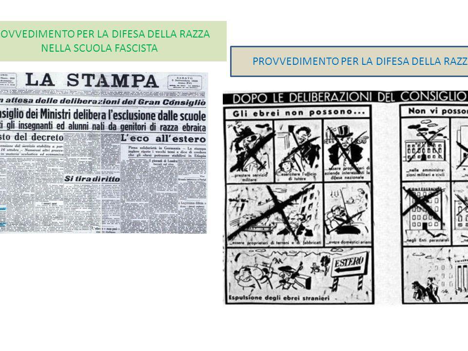 PROVVEDIMENTO PER LA DIFESA DELLA RAZZA NELLA SCUOLA FASCISTA PROVVEDIMENTO PER LA DIFESA DELLA RAZZA ITALIANA