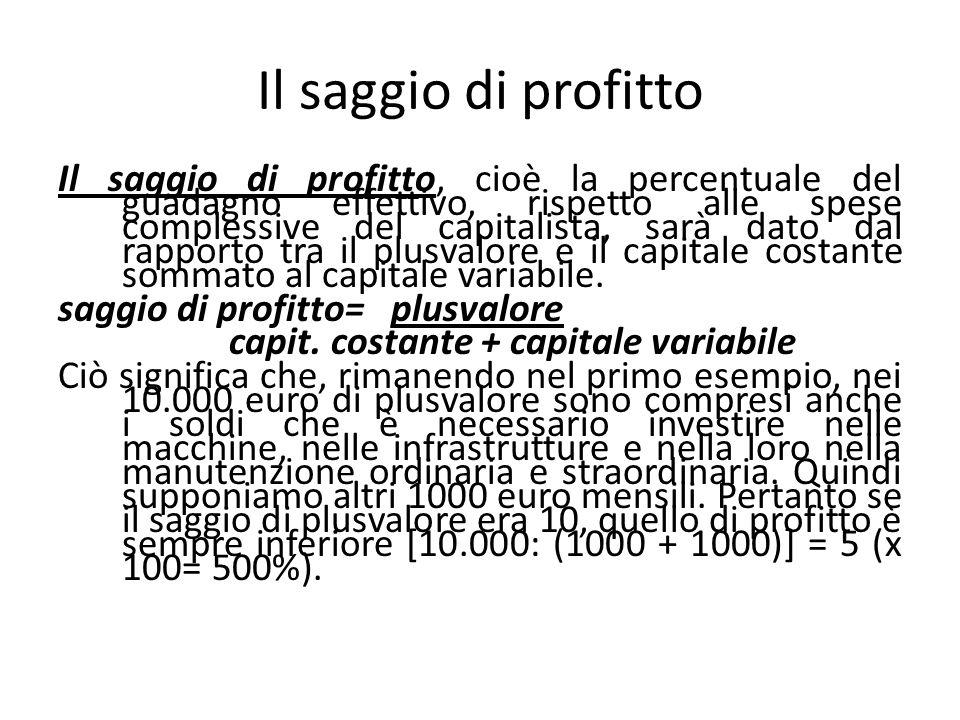 Il saggio di profitto Il saggio di profitto, cioè la percentuale del guadagno effettivo, rispetto alle spese complessive del capitalista, sarà dato da