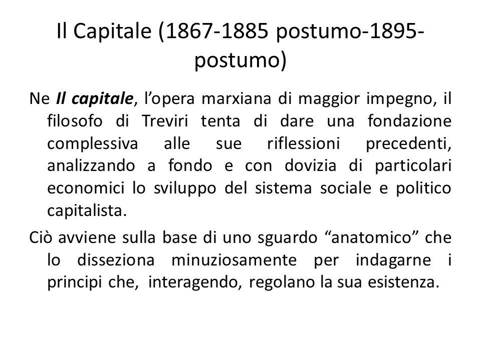 Il Capitale (1867-1885 postumo-1895- postumo) Ne Il capitale, l'opera marxiana di maggior impegno, il filosofo di Treviri tenta di dare una fondazione