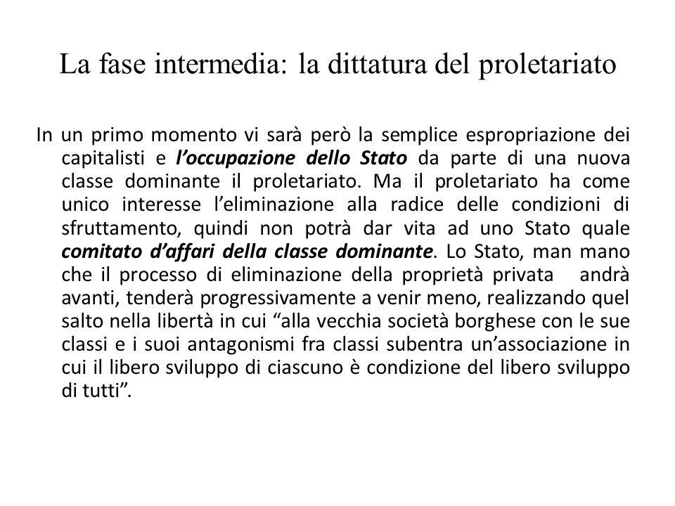 La fase intermedia: la dittatura del proletariato In un primo momento vi sarà però la semplice espropriazione dei capitalisti e l'occupazione dello St