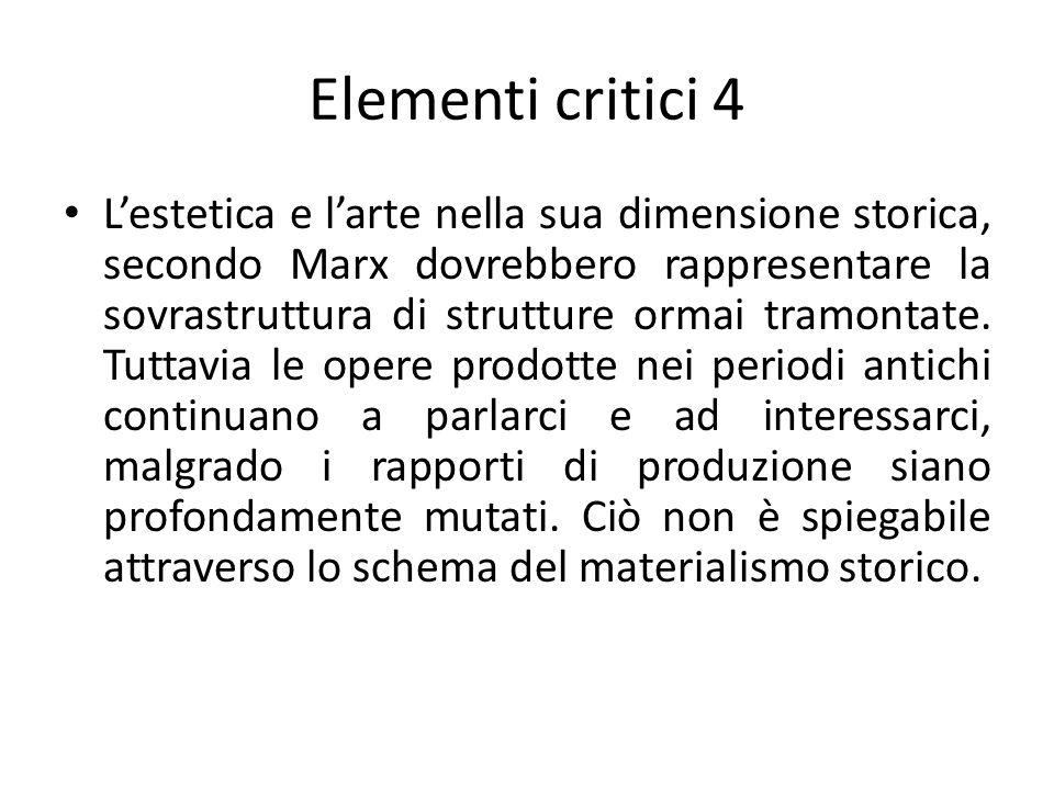 Elementi critici 4 L'estetica e l'arte nella sua dimensione storica, secondo Marx dovrebbero rappresentare la sovrastruttura di strutture ormai tramon