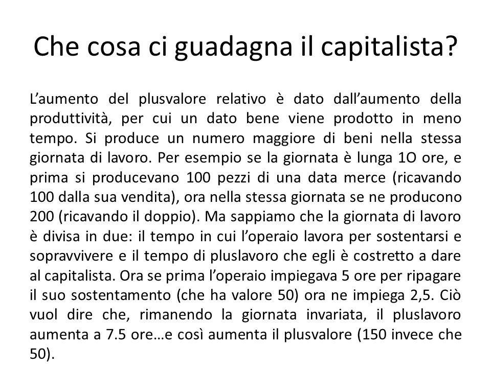 Che cosa ci guadagna il capitalista? L'aumento del plusvalore relativo è dato dall'aumento della produttività, per cui un dato bene viene prodotto in