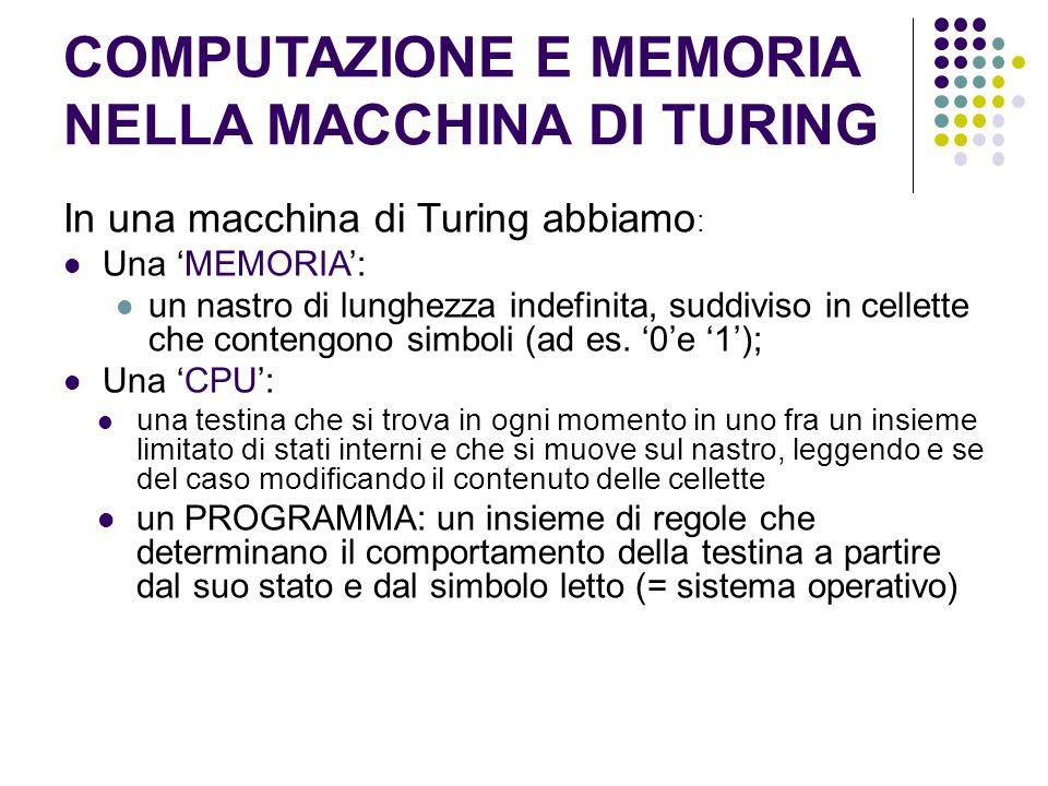 COMPUTAZIONE E MEMORIA NELLA MACCHINA DI TURING In una macchina di Turing abbiamo : Una 'MEMORIA': un nastro di lunghezza indefinita, suddiviso in cel