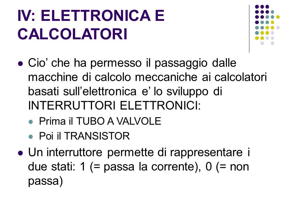 IV: ELETTRONICA E CALCOLATORI Cio' che ha permesso il passaggio dalle macchine di calcolo meccaniche ai calcolatori basati sull'elettronica e' lo svil