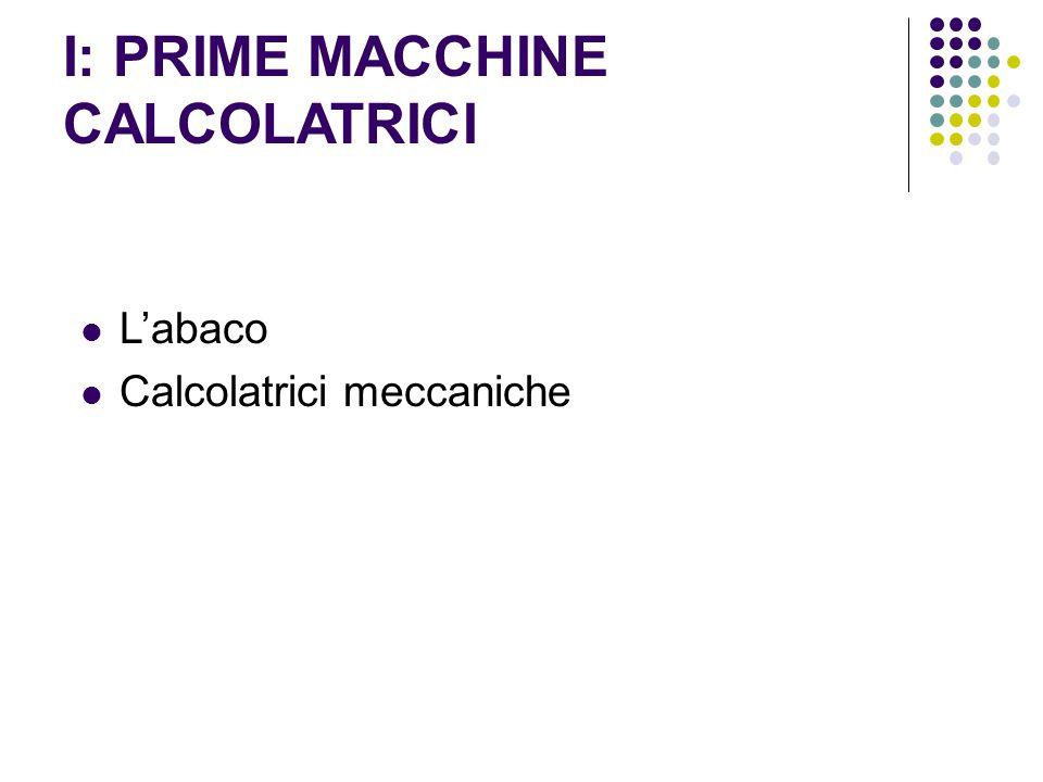 I: PRIME MACCHINE CALCOLATRICI L'abaco Calcolatrici meccaniche