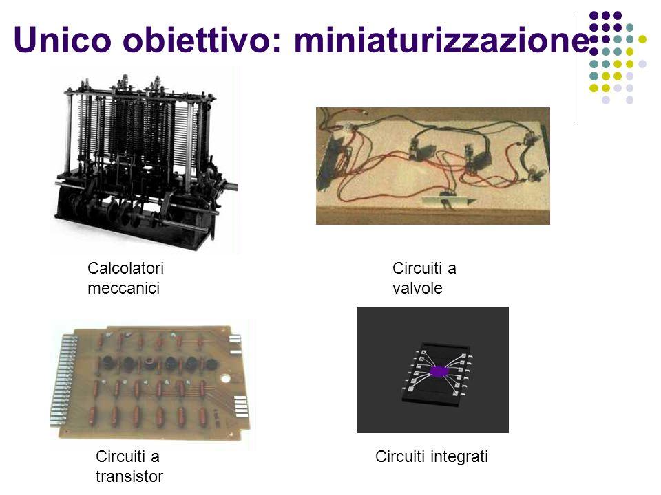 Unico obiettivo: miniaturizzazione Calcolatori meccanici Circuiti a valvole Circuiti a transistor Circuiti integrati