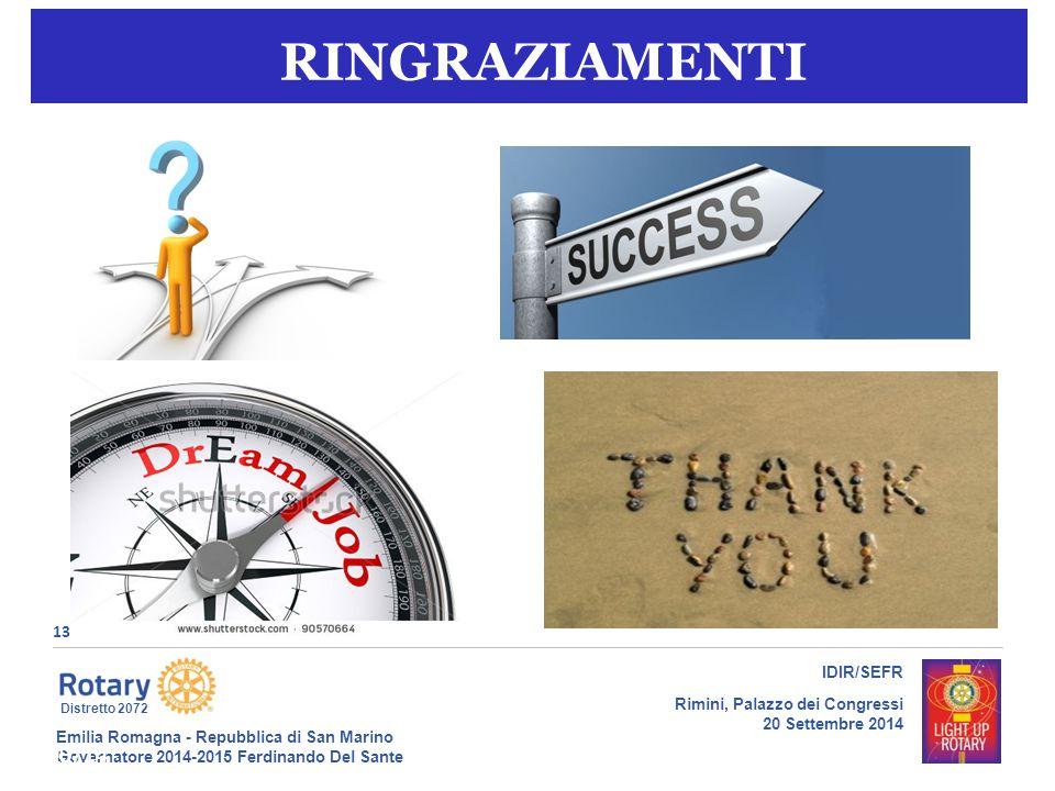 Emilia Romagna - Repubblica di San Marino Governatore 2014-2015 Ferdinando Del Sante Distretto 2072 13 IDIR/SEFR Rimini, Palazzo dei Congressi 20 Settembre 2014 18/09/14gt13 RINGRAZIAMENTI