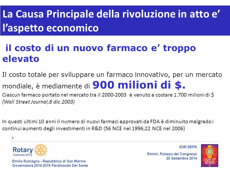 Emilia Romagna - Repubblica di San Marino Governatore 2014-2015 Ferdinando Del Sante Distretto 2072 8 IDIR/SEFR Rimini, Palazzo dei Congressi 20 Settembre 2014 18/09/14gt8 1.