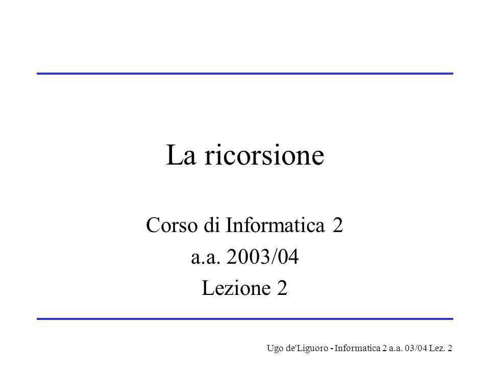 Ugo de Liguoro - Informatica 2 a.a. 03/04 Lez. 2 La ricorsione Corso di Informatica 2 a.a.