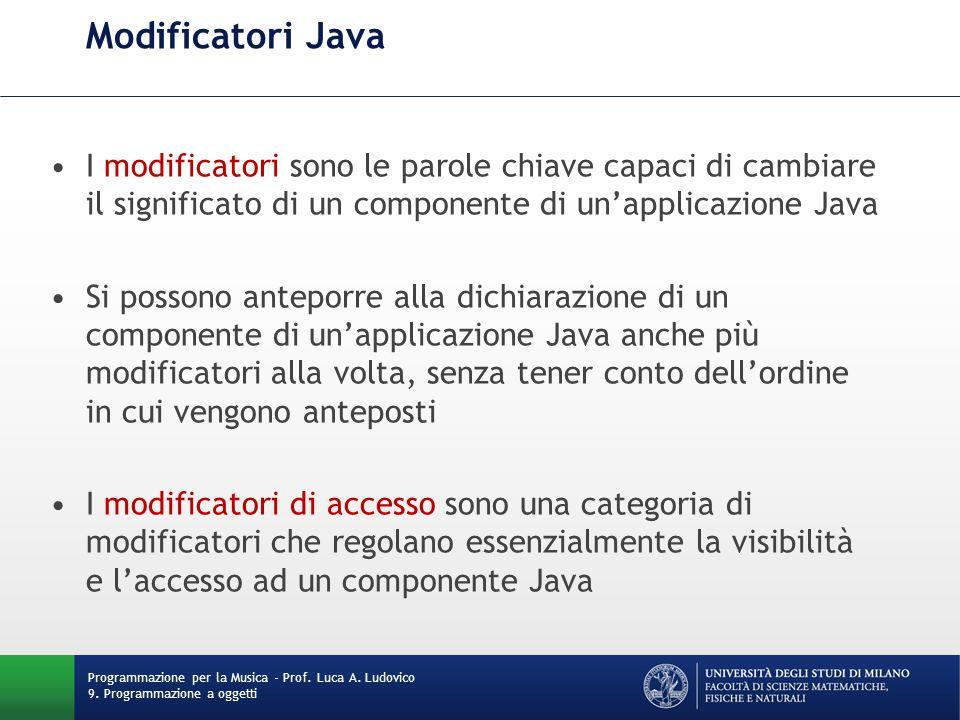 Modificatori Java Programmazione per la Musica - Prof.