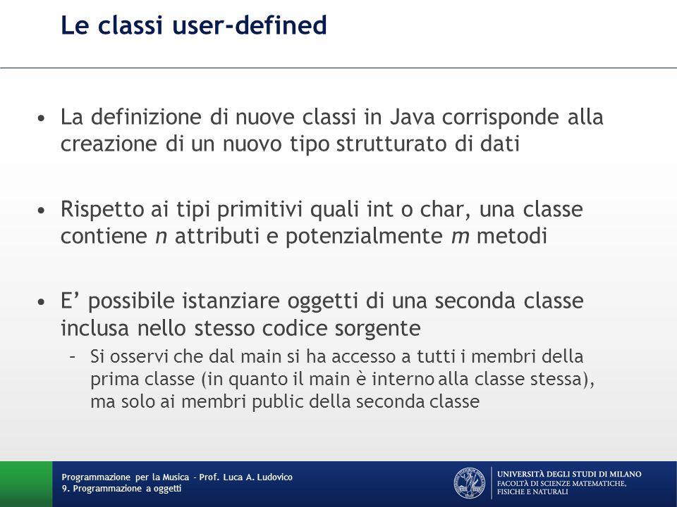 Le classi user-defined Programmazione per la Musica - Prof.