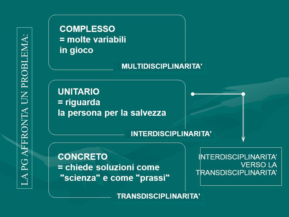 COMPLESSO = molte variabili in gioco UNITARIO = riguarda la persona per la salvezza CONCRETO = chiede soluzioni come