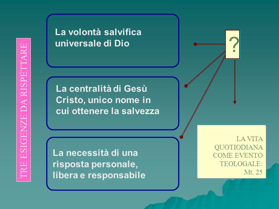 La volontà salvifica universale di Dio La centralità di Gesù Cristo, unico nome in cui ottenere la salvezza La necessità di una risposta personale, li