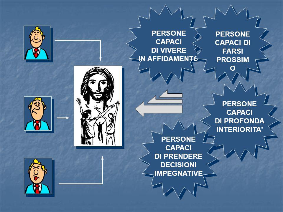 PERSONE CAPACI DI VIVERE IN AFFIDAMENTO PERSONE CAPACI DI PROFONDA INTERIORITA' PERSONE CAPACI DI PRENDERE DECISIONI IMPEGNATIVE PERSONE CAPACI DI FAR