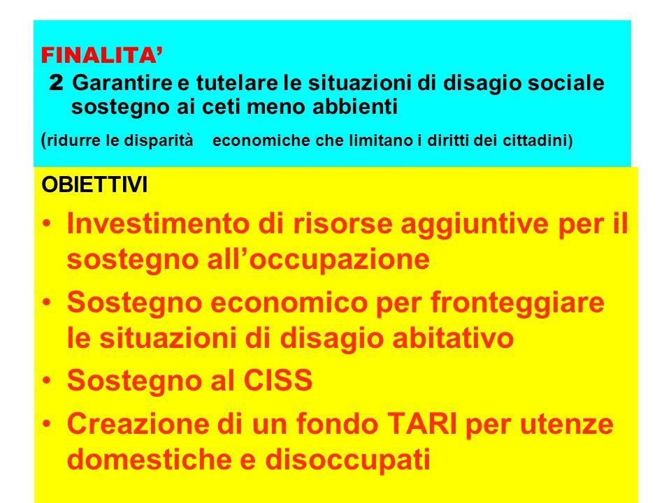 FINALITA' 2 Garantire e tutelare le situazioni di disagio sociale sostegno ai ceti meno abbienti ( ridurre le disparità economiche che limitano i diri