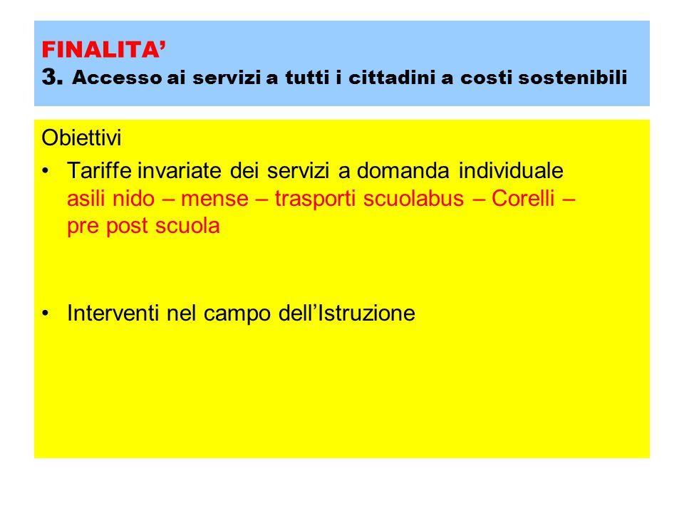 FINALITA' 3. Accesso ai servizi a tutti i cittadini a costi sostenibili Obiettivi Tariffe invariate dei servizi a domanda individuale asili nido – men