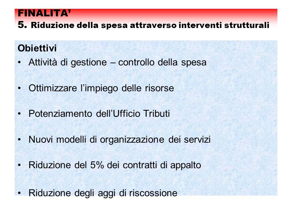 FINALITA' 5. Riduzione della spesa attraverso interventi strutturali Obiettivi Attività di gestione – controllo della spesa Ottimizzare l'impiego dell