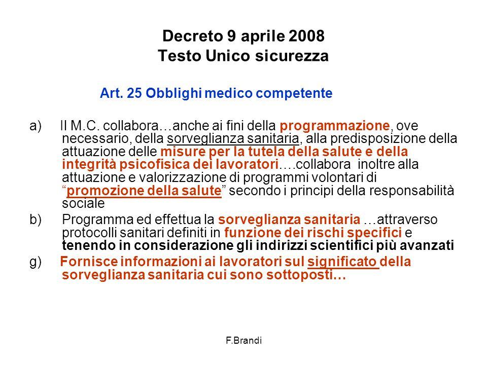 F.Brandi Decreto 9 aprile 2008 Testo Unico sicurezza Art.