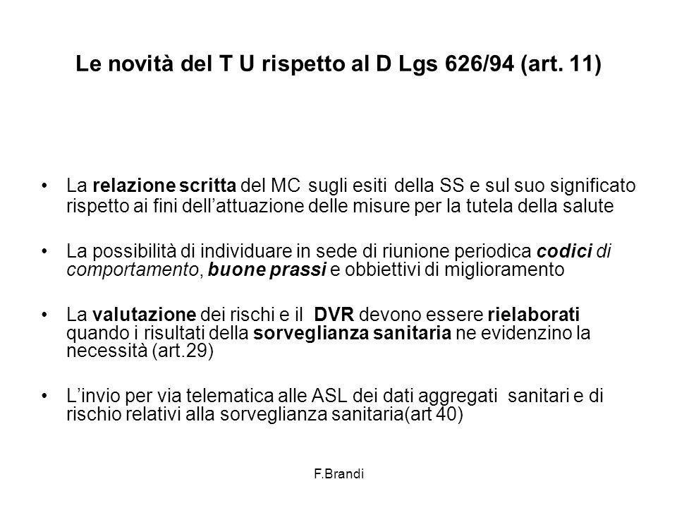 F.Brandi Le novità del T U rispetto al D Lgs 626/94 (art.