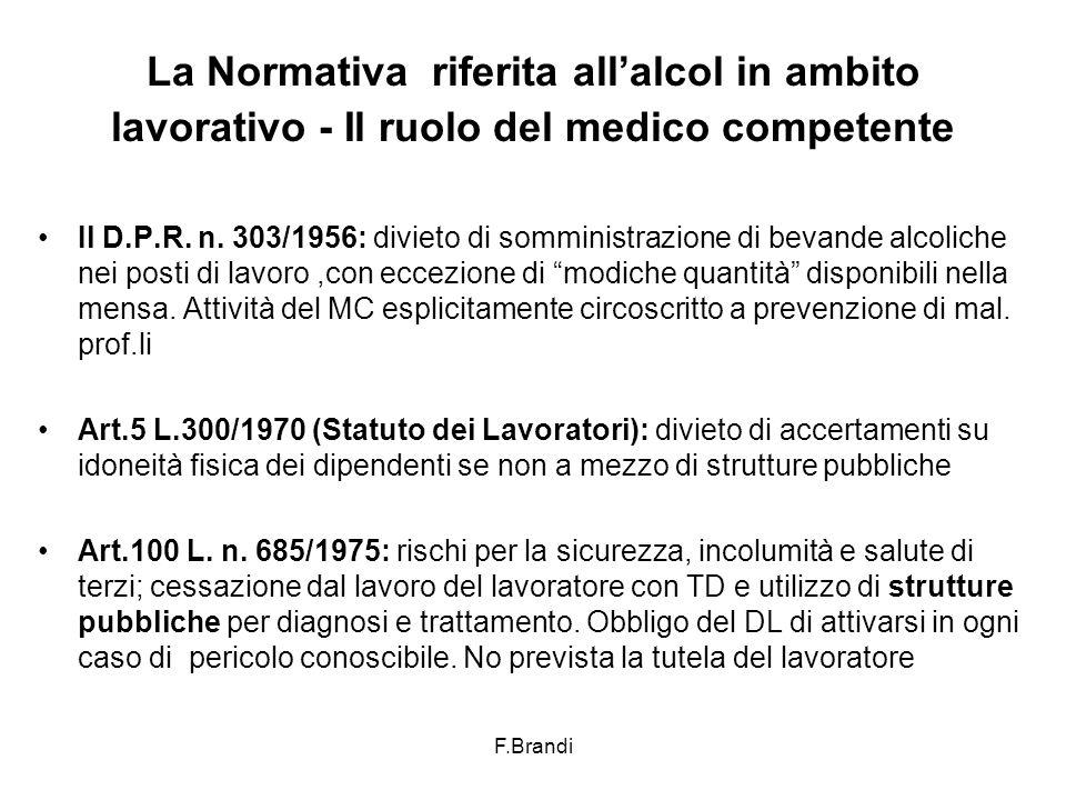 F.Brandi La Normativa riferita all'alcol in ambito lavorativo - Il ruolo del medico competente Il D.P.R.