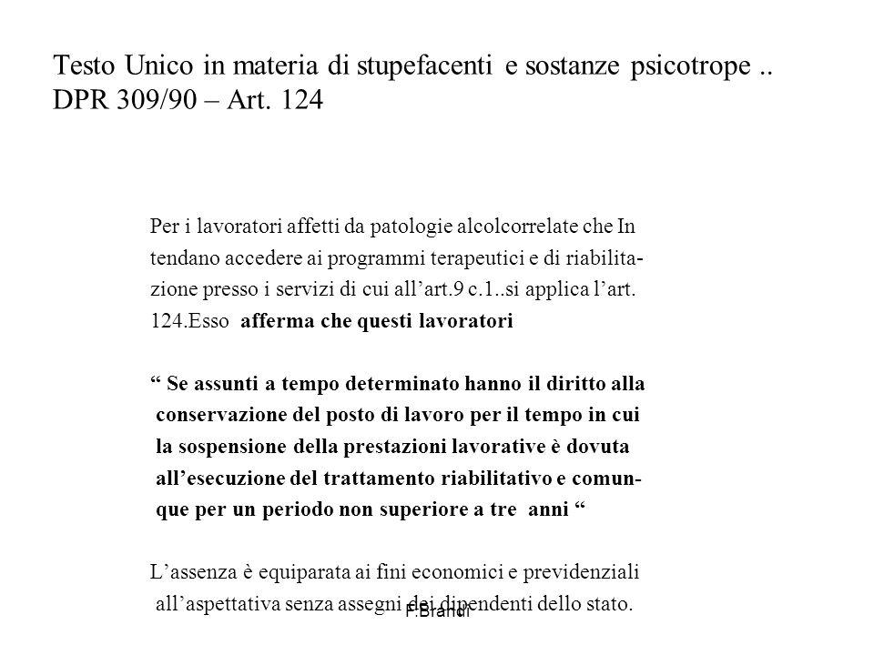 F.Brandi Testo Unico in materia di stupefacenti e sostanze psicotrope..
