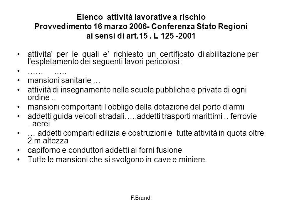 F.Brandi Elenco attività lavorative a rischio Provvedimento 16 marzo 2006- Conferenza Stato Regioni ai sensi di art.15.