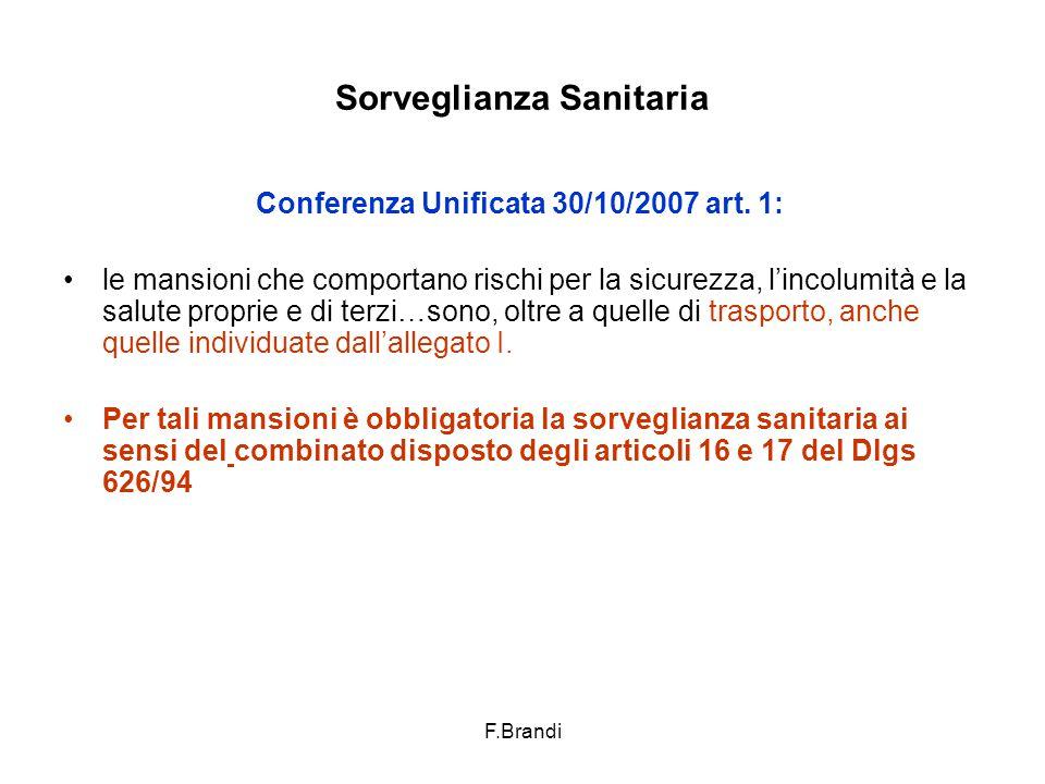 F.Brandi Sorveglianza Sanitaria Conferenza Unificata 30/10/2007 art.