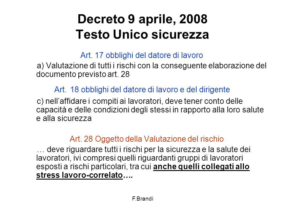 F.Brandi Decreto 9 aprile, 2008 Testo Unico sicurezza Art.