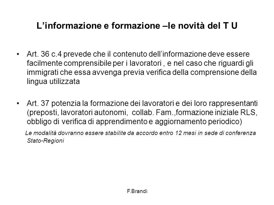 F.Brandi L'informazione e formazione –le novità del T U Art.