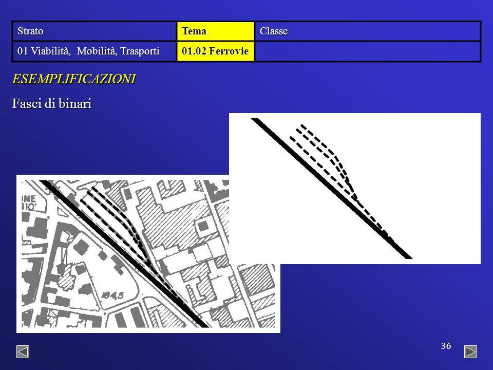 36 Fasci di binari ESEMPLIFICAZIONI StratoTemaClasse 01 Viabilità, Mobilità, Trasporti 01.02 Ferrovie