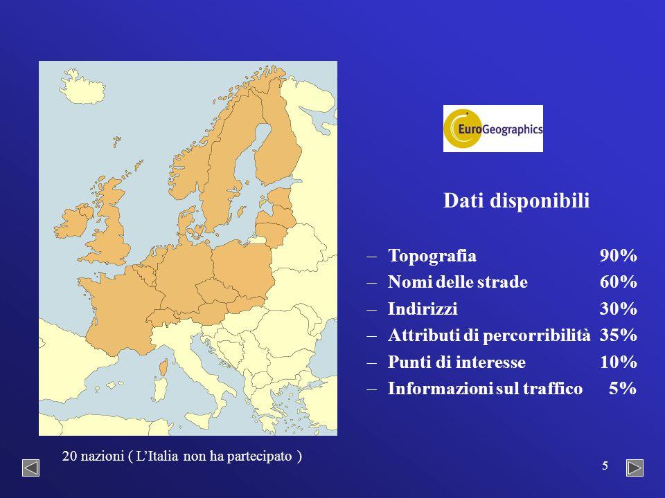 5 Dati disponibili – –Topografia90% – –Nomi delle strade60% – –Indirizzi30% – –Attributi di percorribilità35% – –Punti di interesse10% – –Informazioni sul traffico 5% 20 nazioni ( L'Italia non ha partecipato )