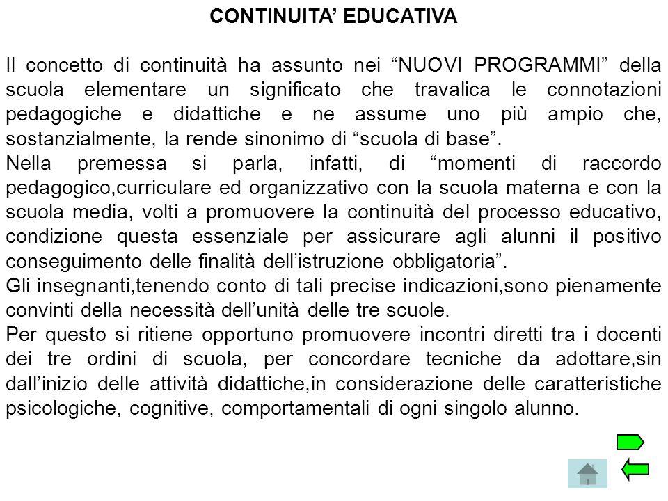 """CONTINUITA' EDUCATIVA Il concetto di continuità ha assunto nei """"NUOVI PROGRAMMI"""" della scuola elementare un significato che travalica le connotazioni"""