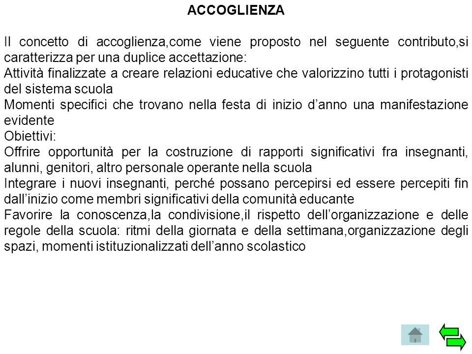 ACCOGLIENZA Il concetto di accoglienza,come viene proposto nel seguente contributo,si caratterizza per una duplice accettazione: Attività finalizzate