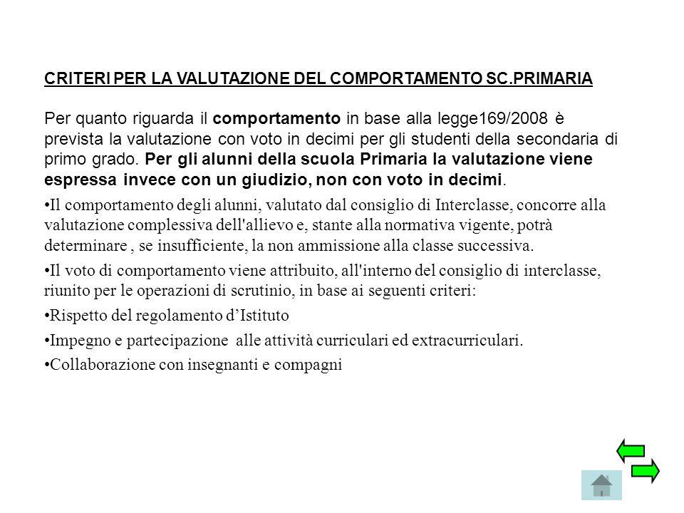 CRITERI PER LA VALUTAZIONE DEL COMPORTAMENTO SC.PRIMARIA Per quanto riguarda il comportamento in base alla legge169/2008 è prevista la valutazione con